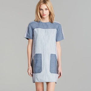 Rebecca Taylor striped denim chambray shift dress